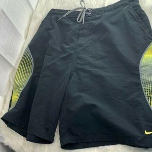 Nike Mens Sz L Black Neon Yellow Swim Trunks  Elas
